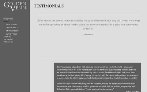 Screenshot of Testimonials Page golden-venn.com - Testimonials - Golden Venn - captured Oct. 28, 2014