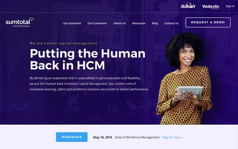 Screenshot of Home Page sumtotalsystems.com - Human Capital Management Solutions | Cloud HR System | HRMS - captured May 3, 2016