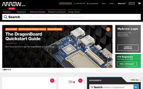 Screenshot of Home Page arrow.com - Electronic Components Online | Find Electronic Parts | Arrow.com - captured Jan. 22, 2016