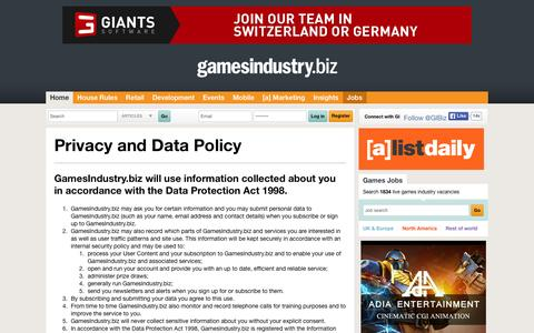 Screenshot of Privacy Page gamesindustry.biz - Privacy Policy | GamesIndustry.biz - captured Dec. 3, 2015
