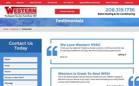 Screenshot of Testimonials Page westernhvac.com - Testimonials | Heating & Air Conditioning in Boise - captured Nov. 29, 2016