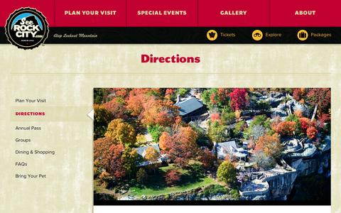 Screenshot of Maps & Directions Page seerockcity.com - Directions | Rock City - captured Oct. 3, 2014