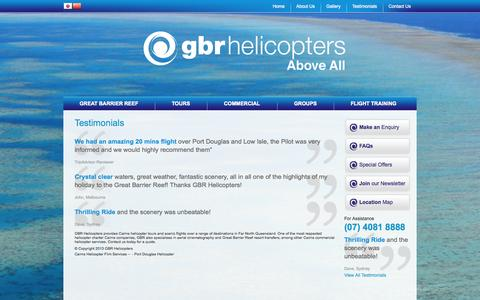 Screenshot of Testimonials Page gbrhelicopters.com.au - Best Way To See Great Barrier Reef | GBR Helicopter Reviews - captured Oct. 3, 2014