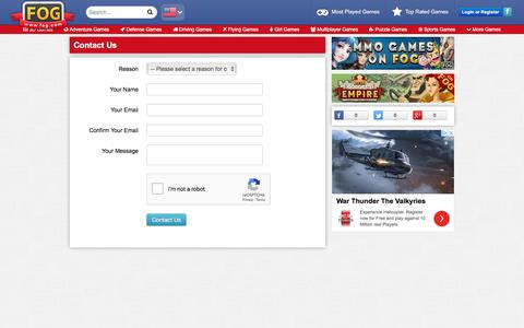 Screenshot of Contact Page freeonlinegames.com - Contact Us - Free Online Games at FOG.COM - captured Sept. 21, 2018