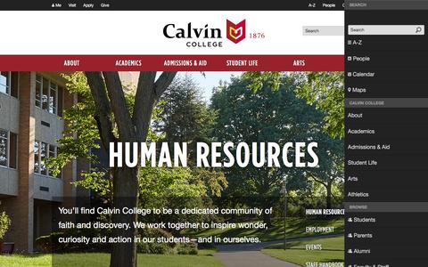 Screenshot of Jobs Page calvin.edu - Human Resources - Offices and Services | Calvin College - captured Feb. 11, 2017