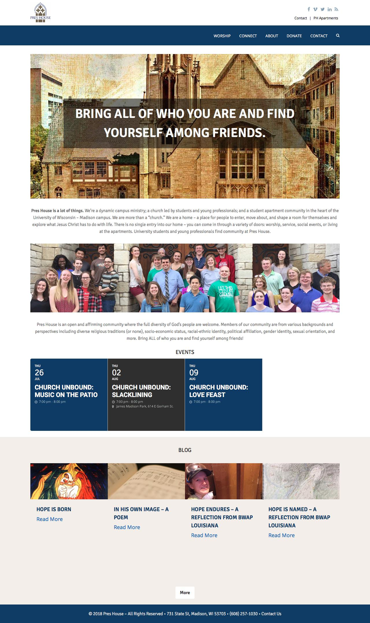 Screenshot of preshouse.org - Pres House Campus Ministry for Students and Young Professionals - captured July 21, 2018