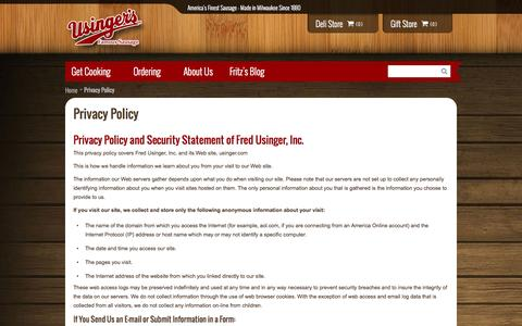 Screenshot of Privacy Page usinger.com - Privacy Policy - captured Oct. 6, 2014