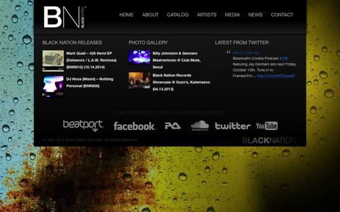 Screenshot of Home Page black-nation.com - Black Nation Records | Reaching back to bring you the future of Techno - captured Oct. 5, 2014