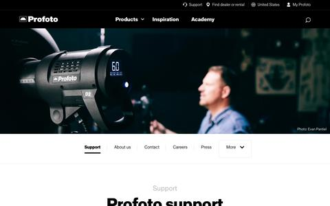 Screenshot of Support Page profoto.com - Support - captured July 23, 2018