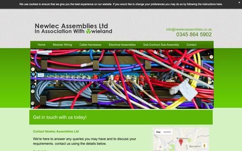 Screenshot of Contact Page newlecassemblies.com - Contact Newlec Assemblies Ltd in Bridgend, Wales. - captured Nov. 30, 2016