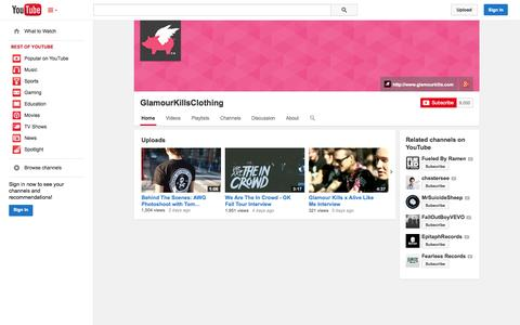Screenshot of YouTube Page youtube.com - GlamourKillsClothing  - YouTube - captured Oct. 22, 2014