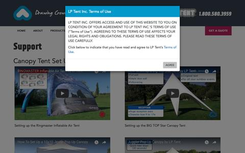 Screenshot of Support Page lptent.ca - LP Tent | Pop Up Canopy Tents and Event Signage | Support - captured Sept. 30, 2018