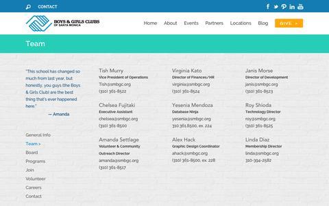 Screenshot of Team Page smbgc.org - Team | Boys & Girls Clubs of Santa Monica - captured Nov. 3, 2014