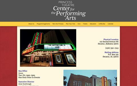 Screenshot of Contact Page princesstheatre.org - Contact Us - Princess Theatre: Center For The Performing Arts - captured Aug. 31, 2017