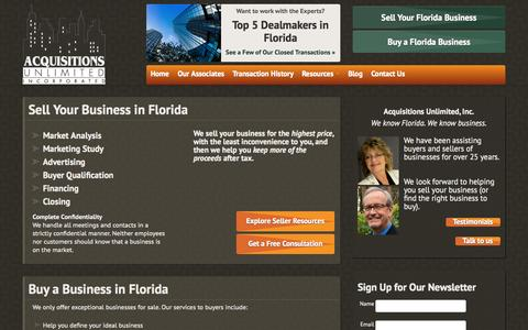 Screenshot of Home Page acquisitions-unlimited.com - Selling Florida Businesses -Acquisitions Unlimited, Inc. - captured Oct. 4, 2014