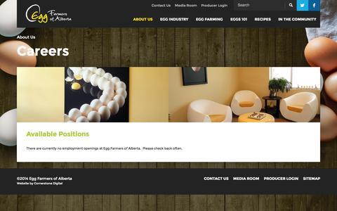 Screenshot of Jobs Page eggs.ab.ca - Careers | Egg Farmers Of Alberta - captured Oct. 4, 2014
