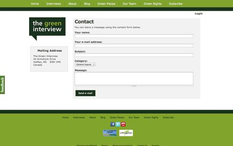 Screenshot of Contact Page thegreeninterview.com - Contact - The Green Interview - captured Oct. 9, 2014
