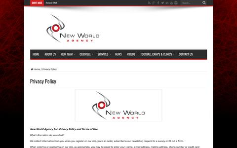 Screenshot of Privacy Page newworldagency.com - Privacy Policy - New World Agency official website | New World Agency is a sports management firm that aims to provide elite athletes with unparalleled professional representation in North America's most competitive and lucrative sporting association - captured Sept. 20, 2018