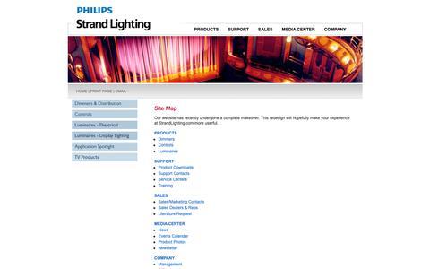 Screenshot of Site Map Page strandlighting.com - Strand Lighting - A Philips Group Brand  Strand Lighting - A Philips Group Brand | Strand Lighting - A Philips Group Brand - captured Sept. 28, 2018