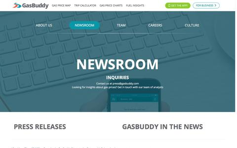 Screenshot of Press Page gasbuddy.com - Newsroom - GasBuddy.com - captured Oct. 3, 2016