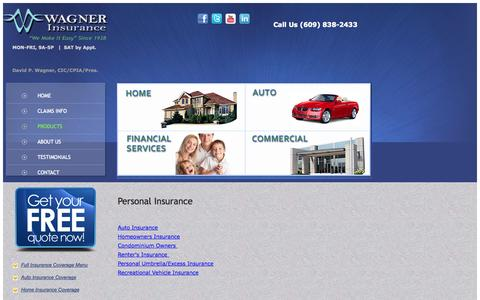 Screenshot of Products Page wagnerins.com - Hamilton NJ Insurance Agent | Home, Auto, Business, Personal - captured Oct. 27, 2014