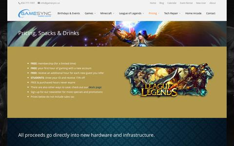 Screenshot of Pricing Page gamesync.us - Pricing, Food & Drinks - GameSync Gaming Center | San Diego - captured Oct. 2, 2014