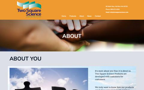 Screenshot of About Page twosquarescience.com captured Oct. 19, 2018