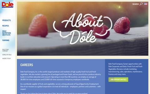Screenshot of Jobs Page dole.com - Careers | Dole.com - captured Feb. 29, 2016