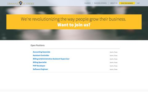 Screenshot of Jobs Page amazingacademy.com - Amazing Academy | Official Site - captured Sept. 19, 2014