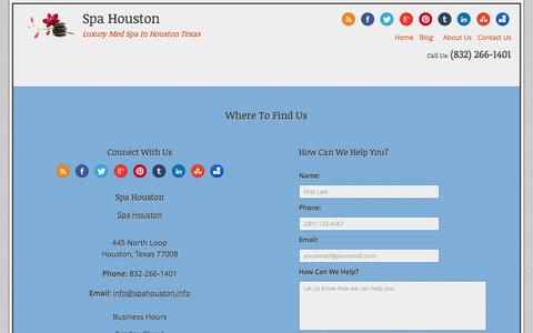 Screenshot of Contact Page spahouston.info - Contact Us | Spa Houston - captured Oct. 9, 2014