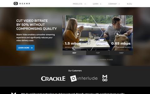 Screenshot of Home Page beamr.com - Beamr - Media Optimization for Better Monetization - captured Aug. 11, 2015