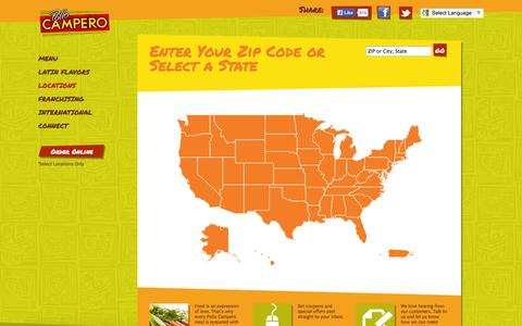 Screenshot of Locations Page campero.com - Pollo Campero | Locations - captured Sept. 23, 2014