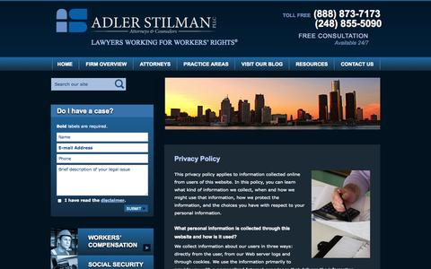 Screenshot of Privacy Page adlerfirm.com - Privacy Policy | Adler Stilman, PLLC | Detroit, Michigan - captured Oct. 4, 2014