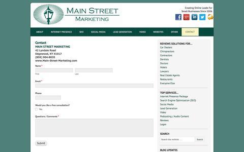 Screenshot of Contact Page main-street-marketing.com - Contact | main-street-marketing.com - captured Dec. 21, 2015