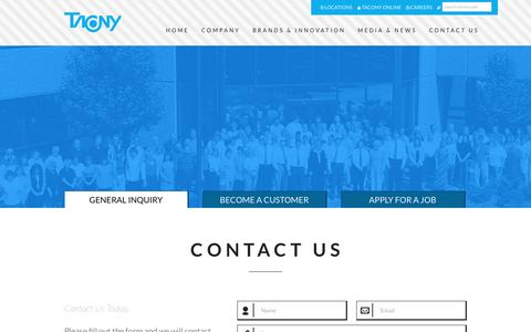 Screenshot of Contact Page tacony.com - Tacony Corporation. Tradition - Trust - Teamwork - captured Jan. 24, 2016