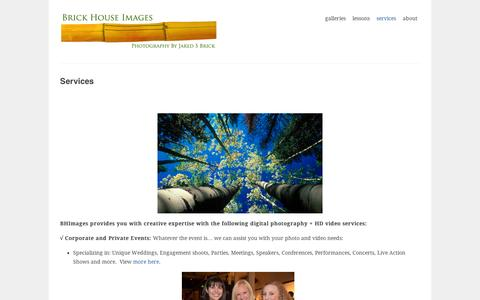 Screenshot of Services Page wordpress.com - Services | Brick House Images ~ Photo + Multi-Media Services - captured Sept. 12, 2014