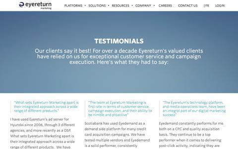 Screenshot of Testimonials Page eyereturnmarketing.com - Testimonials - Eyereturn Marketing - captured July 24, 2018
