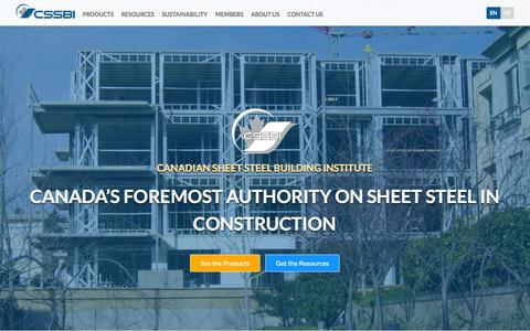 Screenshot of Home Page cssbi.ca - Sheet Steel | CSSBI - captured Oct. 1, 2014