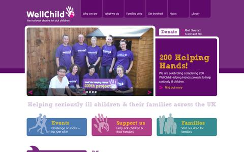 Screenshot of Home Page Privacy Page Contact Page Press Page wellchild.org.uk - WellChild - Helping sick children and their families across the UK - captured Oct. 7, 2014