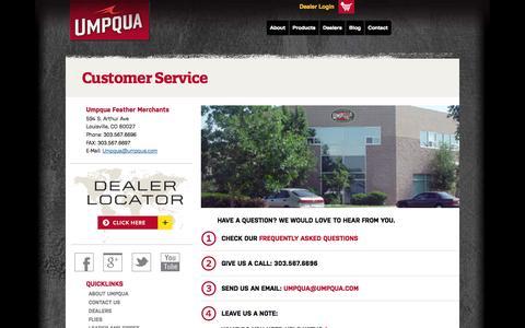 Screenshot of Contact Page Support Page umpqua.com - Customer Service | Umpqua - captured Oct. 23, 2014