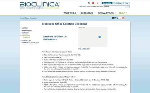 Screenshot of Maps & Directions Page bioclinica.com - Directions to BioClinica Office Locations - captured Nov. 14, 2015