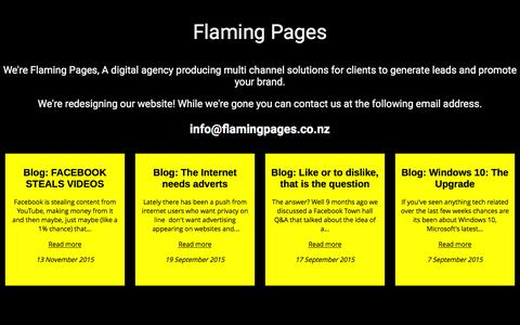 Screenshot of Home Page flamingpages.co.nz - Flaming Pages | A digital agency producing website, branding, photography, video and social media solutions for clients to generate leads and promote your brand - captured Jan. 8, 2016