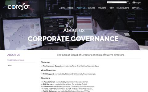 Screenshot of About Page coreso.eu - Corporate Governance | Coreso - captured Sept. 1, 2017