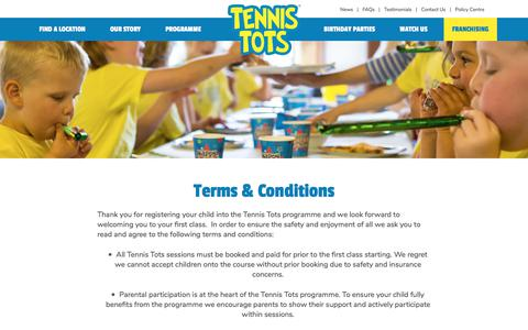 Screenshot of Terms Page tennis-tots.co.uk - Terms & Conditions - captured Sept. 20, 2018