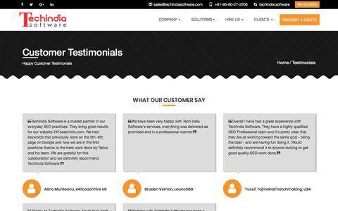 Screenshot of Testimonials Page techindiasoftware.com - Happy Customer Testimonials - TechIndiaSoftware - captured Oct. 20, 2017