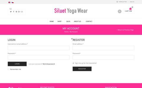 Screenshot of Login Page siluetyogawear.com - My Account | Siluet Yoga Wear - captured March 10, 2017