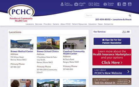 Screenshot of Contact Page Locations Page pchc.com - Locations - Penobscot Community Health Care - captured Oct. 22, 2014