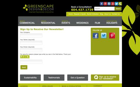 Screenshot of Signup Page greenscapedecor.com - Sign Up to Receive Our Newsletter! - Greenscape Design & Decor - captured Oct. 3, 2014