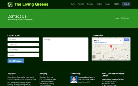 Screenshot of Contact Page thelivinggreens.com - Contact Us | The Living Greens, Rooftop Farming, Organic Farming, Rooftop Organic Farming Kit, Indoor and Outdoor Living Green Walls in Jaipur Rajasthan India - captured Oct. 2, 2014