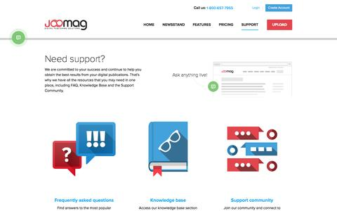 Screenshot of Support Page joomag.com - Support - captured Oct. 10, 2014